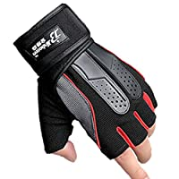 JIOLK 半指手袋 フィットネス手袋 スポーツグローブ サイクルグローブ 滑り止め 衝撃性 通気性 手首保護ハーフフィンガー 自転車用手袋 耐摩耗性 メッシュ仕様