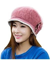 tuscom女性用フラワーキャップニットビーニーキャップ暖かい冬ベレー帽子