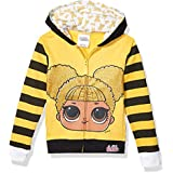 L.O.L. Surprise! Girls The Glitterati Queen Bee Big Face Zip-up Hoodie Long Sleeve Hooded Sweatshirt - Gold