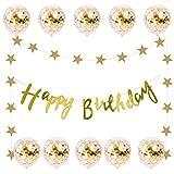 誕生日 飾り付け セット HAPPY BIRTHDAY ガーランド 風船 バースデー デコレーション ゴールド 紙吹雪入れ バルーン きらきら風船 ゴールド