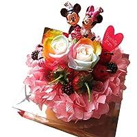 誕生日プレゼント ミッキー ミニー入り 花束風 レインボーローズ プリザーブドフラワー ミッキー ミニー バースデー A フラワーケーキ ケース付