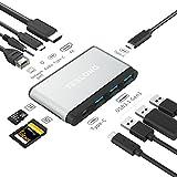 [改良型]TeslongMac usbハブ 10 in1 Macbook ハブ 3.5mmオーディオ/マイク2in1ポートmac windows Android対応 Macbook Pro 13/15インチ用 40Gbs Thunderbolt 3 4K HDMI 3.5 mmオーディオ パススルー充電 Micro/SDカード USB 3.1 Gen1ポート×3 マルチ USB ハブ