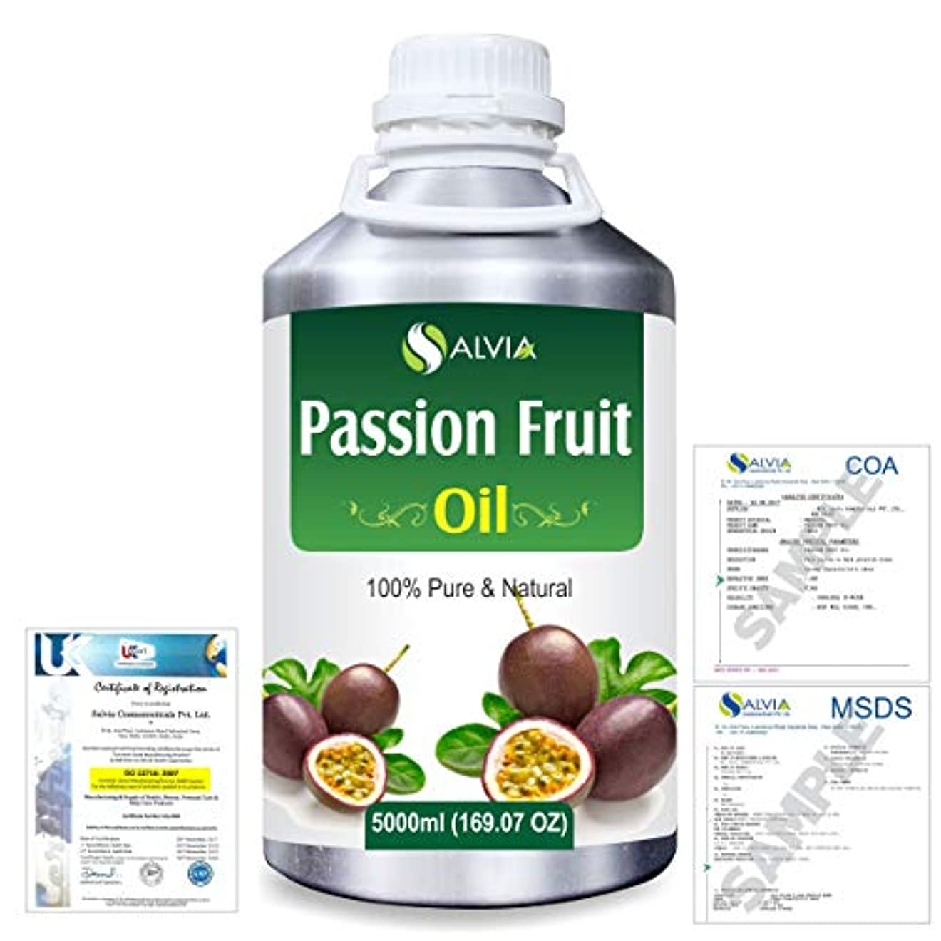 泣いているボーナス医療過誤Passion Fruit (Maracuja) Natural Pure Undiluted Uncut Carrier Oil 5000ml/169 fl.oz.