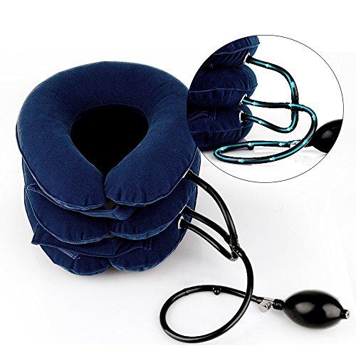 エアーネックストレッチャー首サポーター 頸椎牽引装置 三つ叉ポンプ式 高級スエード 軽量 首こり解消 グレー・ブルー・ワインレッド三色選択可能 ブルー