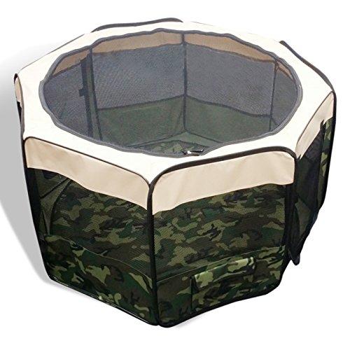 折りたたみ ペットサークル Mサイズ /組立時 最大直径102×高62/収納時 52cm×69cm×6.5cm 8角型折り畳み   迷彩柄