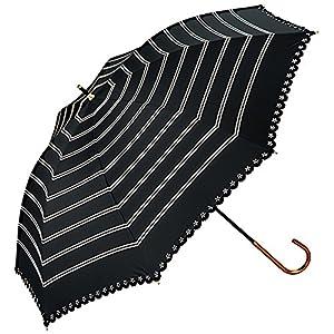 w.p.c 日傘 晴雨兼用 遮光 ボーダー ヒートカット ブラック 50cm 81-3069