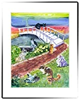 Rainbow Card Company Small Stretched canvas - Rainbow bridge Cat [並行輸入品]