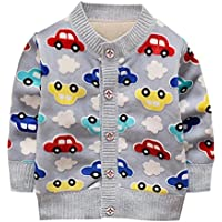 Weixinbuy Baby Boys' Cartoon Car Soft Sweater Cardigan Outerwear Clothes