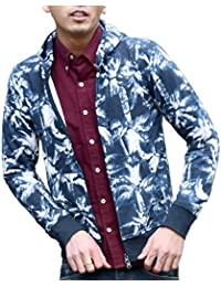 ルービック(RUBIK) MA-1 パーカー メンズ トレーナー ジャケット スウェット 薄手 長袖 ジップアップ 無地 カモフラ