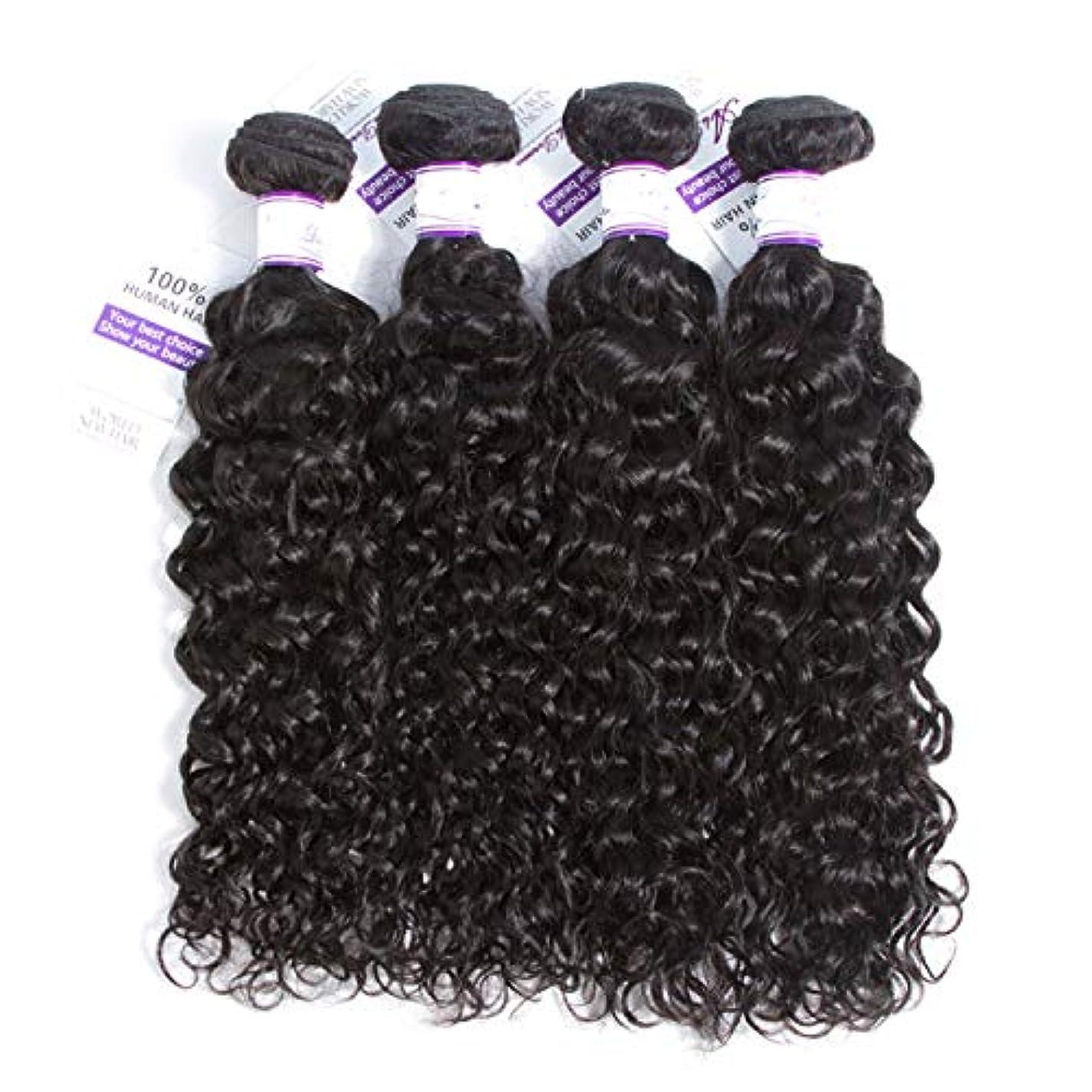 無実脱走かけがえのないかつら マレーシアの水の波髪4個人間の髪の毛の束非レミーの毛延長ナチュラルブラック (Length : 10 10 10 10)