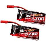 HITEC XPOWER Li-Po 3.7V 700mAh 25C ツインパック (GV6・8) XP480379W [日本正規品]