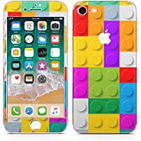 iPhone8 対応 iPhone7 互換 アイフォン 全面スキンシール フル 背面 側面 正面 液晶 ステッカー スマホカバー ケース 保護シール スマホ スマートフォン チェック・ボーダー レゴ ブロック カラフル 模様 007349