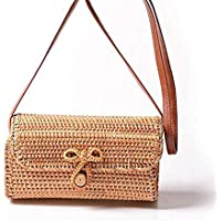 Woven Rattan Bag for Women, Hamkaw Handmade Beach Tote Rattan Bag with Adjustable Crossbody Shoulder PU Strap, Natural and Unique, Rectangle Rattan Bags for Travel,L