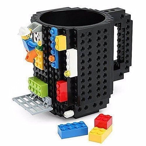 クリエイティブDIY build-onレンガマグLegoスタイルパズルマグカップ、建物ブロック水ボトルFrozenコーヒーマグ、クリスマスギフトおもちゃマグカップ M ブラック