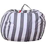 FY Home Organisation Bag Kids Stuffed Animal Plush Toy Storage Bean Bag Soft Pouch Stripe Multifunction Fabric Chair Large Capacity (A)
