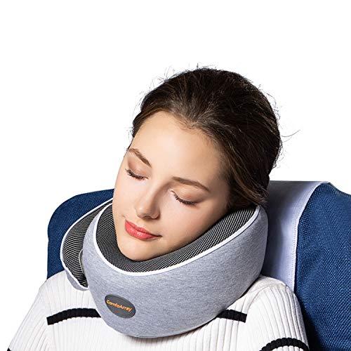頭部サポート旅行用枕 より多くのサポートを提供 飛行機旅行に最適 100%メモリーフォーム 首のサイズを調節可能 イヤプラグとスリープマスク付き