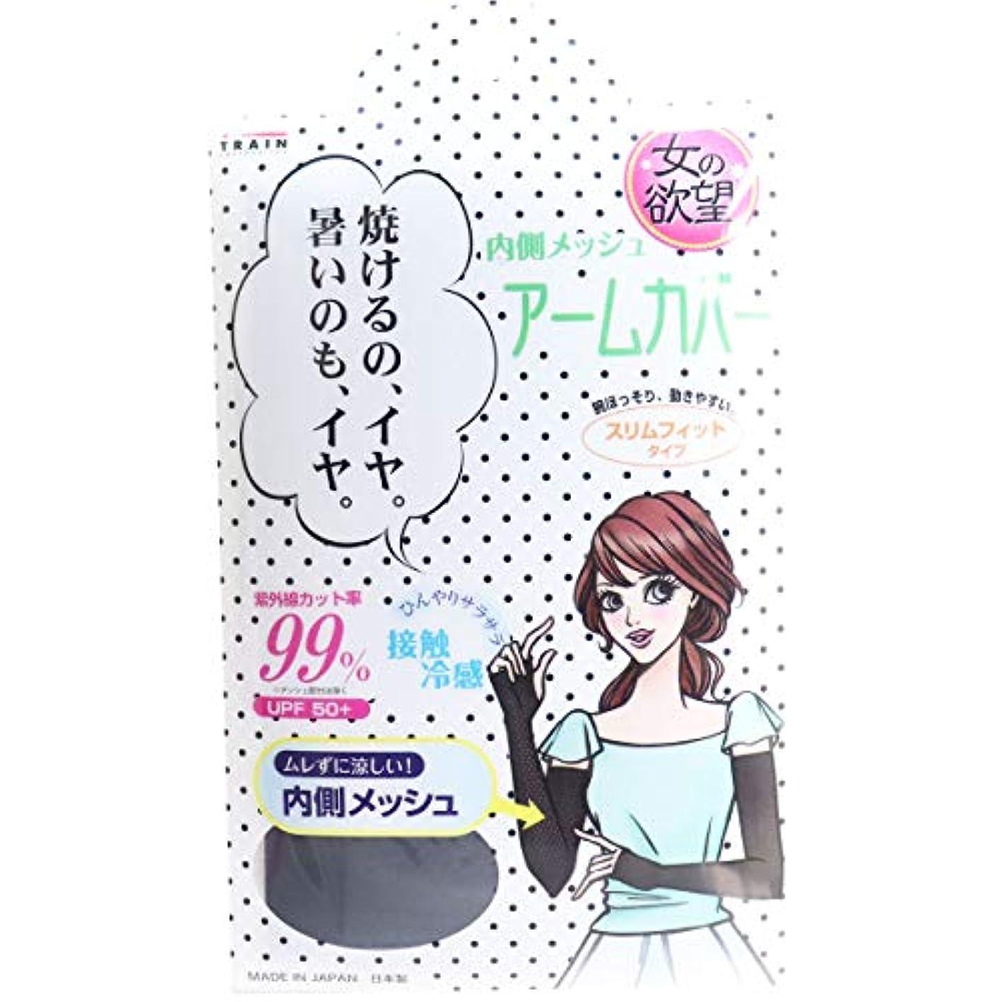 鷲定義するライド女の欲望 COOL&UV 内側メッシュアームカバー スリムフィットタイプ ブラック フリーサイズ×20個セット