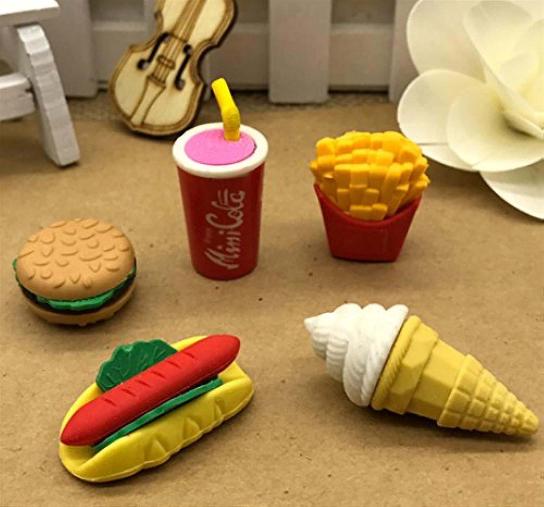 HuaQingPiJu-JP 5個のかわいい取り外し可能な漫画の食べ物バーガー消しゴムセット