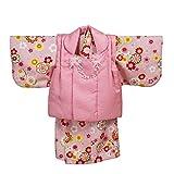 女の子ベビー着物 被布セット ピンク 花と鞠 1才(80cm-90cm)