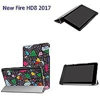 thosdtケースまったく新しいAmazon Fire HD 8タブレット(第7世代、2017年のリリースのみ-ultra軽量スリムシェルスタンドカバー半透明つや消しBack For Amazon Fire HD 8