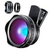 YIEASY スマホ用カメラレンズ 超広角レンズ(0.45Xワイドレンズ) 15Xマクロレンズ 2in1 クリップ式レンズ 5.5cm大口径レンズ 自撮りレンズ カメラレンズキット 一眼レフ効果iphone7plus iPhone X HUAWEI p9 全機種対応 動画可能