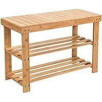 SMAGREHOシューズラック 天然竹製 腰掛け可能 玄関ベンチ スツール イス・チェアー 2段棚 組み立て式 靴収納