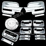 09–14フォードf150トリプルクロムメッキミラーカバー( Does Not Fit On Towingミラー、4ドアハンドルカバーキーパッドと助手席鍵穴、テールゲートハンドル、ガス抜きドアカバー