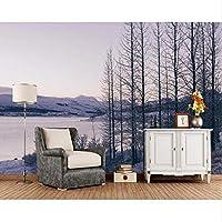 Xbwy 冬川雪の木自然写真3D壁紙壁画、リビングルームテレビソファ壁の寝室の壁紙の家の装飾-350X250Cm