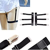 Tmrow Adjustable Men's Uniform Dress Shirt Stay Holders Elastic Garter Belts with Non-slip Locking Clamps
