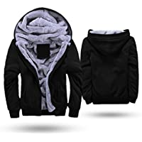Men's Thicken Fleece Lined Hoodie Zipper Hooded Sweatshirt Winter Warm Thick Jacket