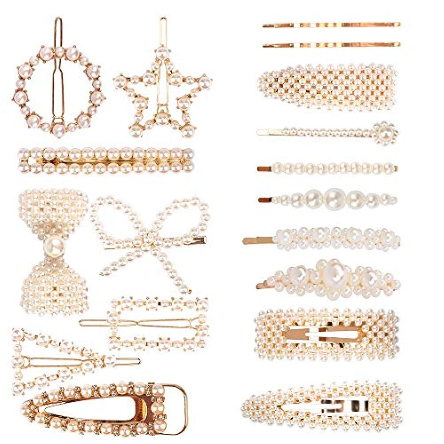 ACO-UINT 18パック 樹脂ヘアピン ヘアクリップ ヘアアクセサリー ファッシヨンスウイートスタイリング 人工 真珠アクセサリー ヘアクリップミニ レデスース向け