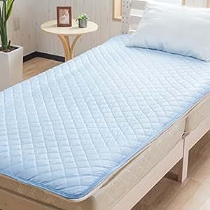 【サラッと快適ベッドパッド 手触り滑らか爽快 ひんやり敷きパッド】(シングルサイズ) 100×200cm 吸湿速乾 接触冷感 快眠シーツ サラフル (ブルー色)