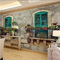 Lcymt ヴィンテージ壁紙ヨーロッパウィンドウ写真壁紙壁画3Dホームカフェの装飾自己接着ビニール/シルクの壁紙-350X250Cm