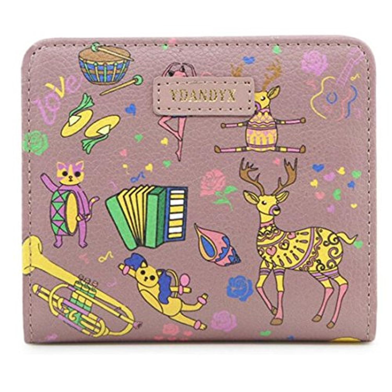 (ゆとり生活)レデイース財布 2つ折り 小銭入れ PU革 動物柄 ウォレット 便利