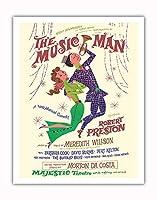 ミュージックマン - 出演:ロバート・プレストン - マジェスティックシアター、ブロードウェイ - ビンテージな劇場のポスター によって作成された デイヴィッド・クライン c.1957 - アートポスター - 28cm x 36cm