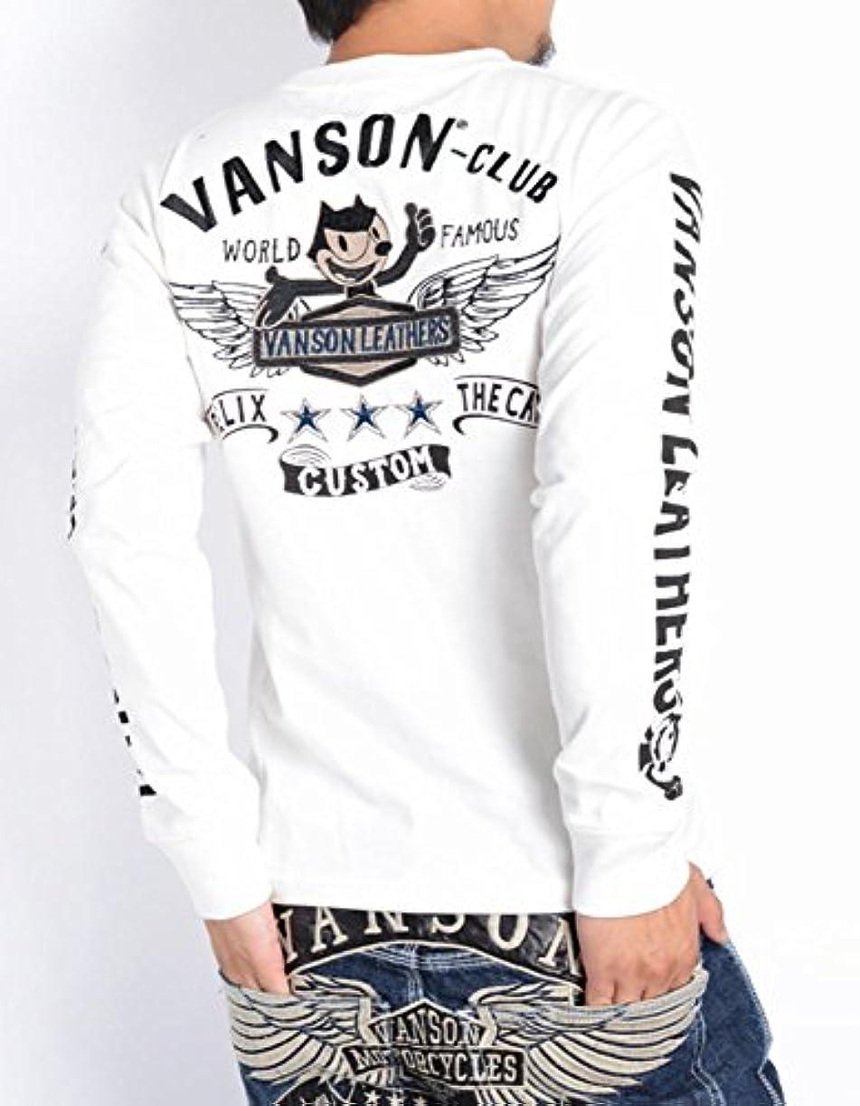 超えてリーフレット尽きる(バンソン) VANSON × FELIX フィリックス コラボ 長袖Tシャツ フライングエンブレム&フィリックス 刺繍プリント ロングTシャツ FXV-515
