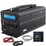 インバーター 12V 正弦波 1500W DC 12V を100V 110V ACへ変換 50Hz/60Hz LCDディスプレイ及びリモコン搭載 ハンドル12v 電源 EDECOA