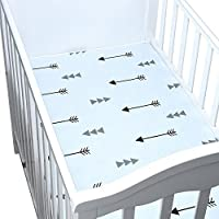 1PC Cotton Baby Crib Sheets Toddler Bedding Fitted Jersey Nursery Bedding for Boys or Girls (arrow) [並行輸入品]
