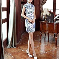 QGTDRESS Vintage Floral Casual Short Cheongsam Dress Traditional Clothing, Size:XXL(Blue) (Color : Blue, Size : L)