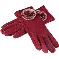 ciderosレディースタッチスクリーン手袋冬厚手暖かい裏地付きアウトドアスポーツサイクリングスマートTexting手袋レッド