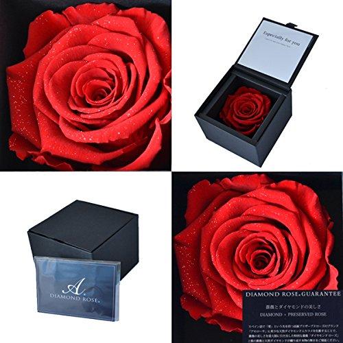 花 プレゼント DIAMOND ROSE ダイヤモンド ローズ 赤い バラ プリザーブドフラワー ギフト (お磨きクロス付 ラッピング済 ギフトセット)