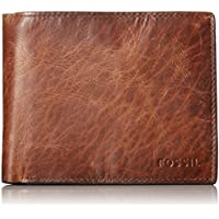 Fossil Men's Derrick Large Coin Pocket Bifold, Dark Brown, One Size