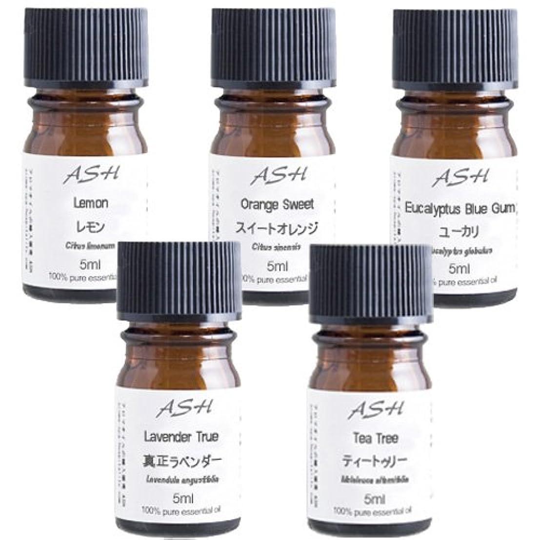 背が高い頼る適切なASH エッセンシャルオイル5mlx5本セットB【スイートオレンジ、ティートゥリー(ティーツリー)、ユーカリ、真正ラベンダー、レモン】AEAJ表示基準適合認定精油
