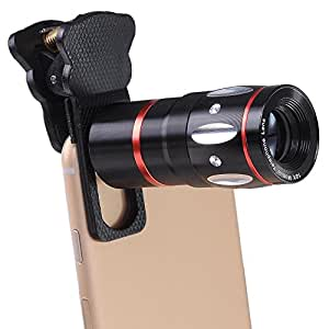 ReaseJoy カメラレンズキット 4in1 クリップ式(望遠レンズ+マクロレンズ+ワイドレンズ+魚眼レンズ) 装着便利 ブラック iPhone6/6s iPhone6 Plus iPhone5/5s iPad Android対応