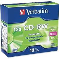 "Verbatimアメリカ、LLC–Verbatim 95156書き換え可能CDメディア–CD - RW–12x–700MB–10パックスリムケース""製品カテゴリ:ストレージメディア/光学メディア"""
