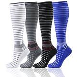 HLTPRO Compression Socks Women Men 20-30 mmHg - 1 to 6 Pairs Compression Stockings Best Running, Crossfit, Travel, Nurse, Maternity Pregnancy