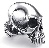 PW 高品質チタン&ステンレス 髑髏スカル指輪 23191 シルバー(銀色) 【ラッピング対応】