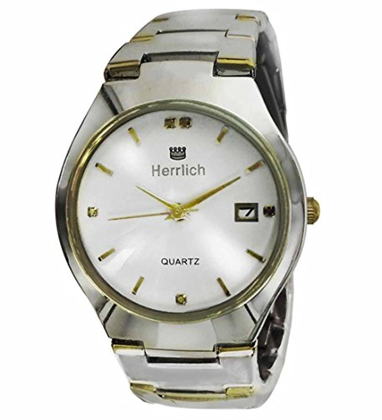 機知に富んだ差別的悲劇Herrlich 天然ダイヤモンド5石使用 ブリリアントカット高級腕時計 ホワイト