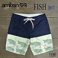 AMBSN/アンビション FISH BOARDIE BOARDSHORTS NAVY 男性用 サーフパンツ ボードショーツ 海パン メンズ 海水パンツ 水着 サーフトランクス