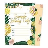 パイナップルHappy誕生日招待状招待カード(25Count) with Envelopes &シールステッカー男の子女の子子供用パーティー